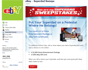 eBay Superdad Facebook Sweepstakes